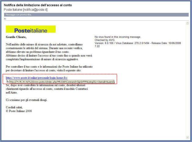 Classico Phishing come finto mittente Poste Italiane
