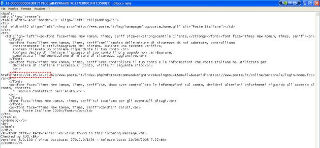 La stessa Email visualizzata in HTML