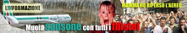 Le proteste dei dipendenti Alitalia